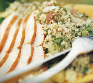 Couscous tabouleh with smoked chicken