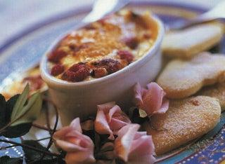Lavender cream brulee with rose petal or lavender shortbread