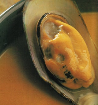 Mussel and pumpkin chowder with watercress pesto