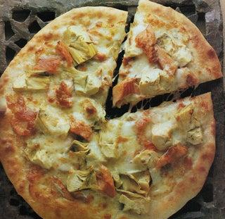 Bocconcini and lemon thyme pizza