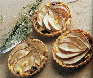 Muscatel, blue cheese and winter pear tarts