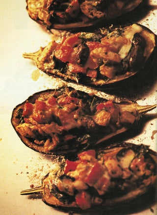 Aubergines stuffed with pesto and chicken