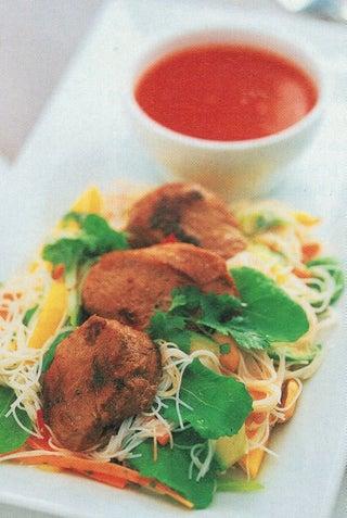 Ginger pork fillets with Thai salad