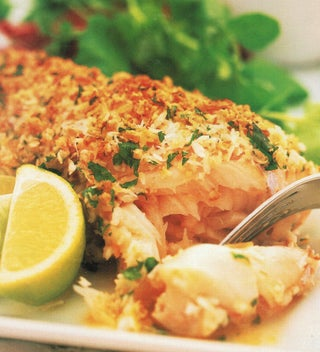 Lemon, coconut and almond crusted fish