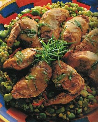 Country garlic chicken on greens