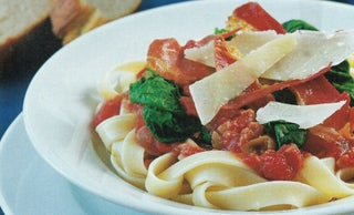 Red wine-braised garlic on pasta