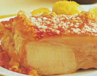 Roast pork with roasted apple jus