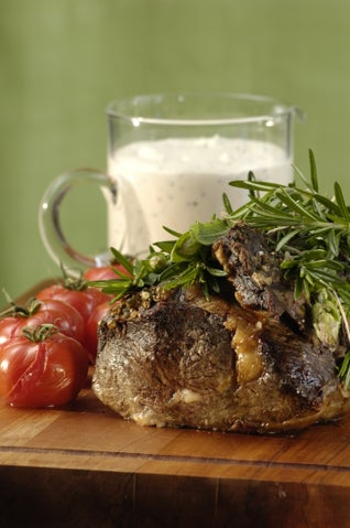 Sage and peppered scotch fillet of beef with fresh cream sauce