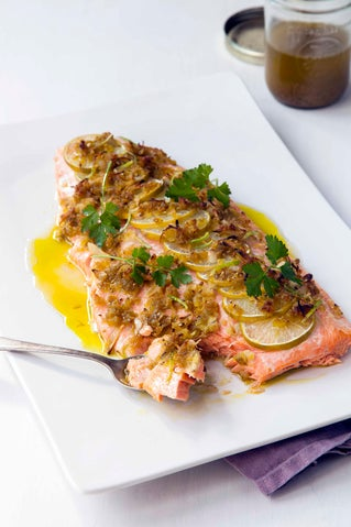 Lime and avocado oil-crusted salmon