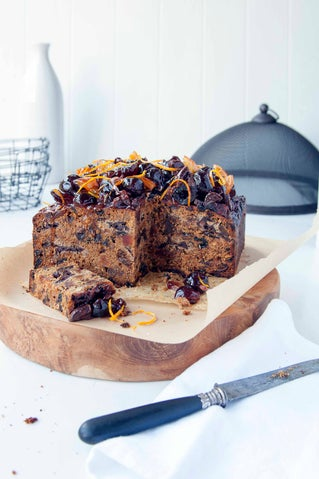 Rich chocolate, prune and fig Xmas cake