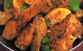 Lemon chicken with artichoke garlic paste