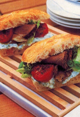 Turkish bread and cumin roasted lamb with basil, feta and yoghurt dressing