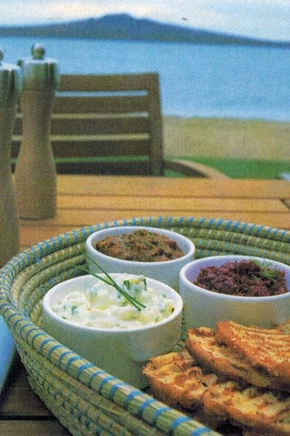 Grilled Turkish bread slices with dips
