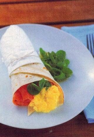 Salmon scrambled egg wraps