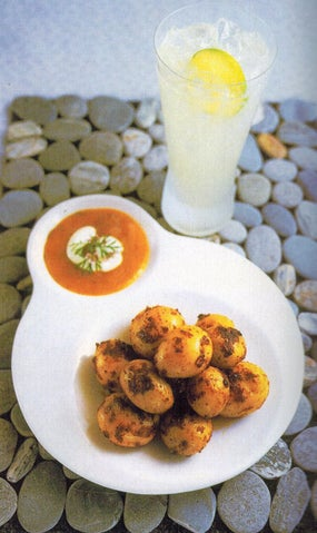 Spiced new potatoes with tropical dipping sauce