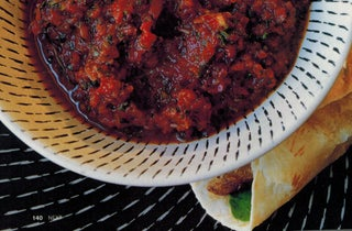 Chipotle, sundried tomato and pineapple salsa with smoked chilli beef