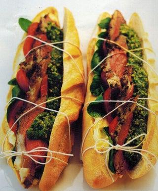 Lamb rolls with pistachio pesto