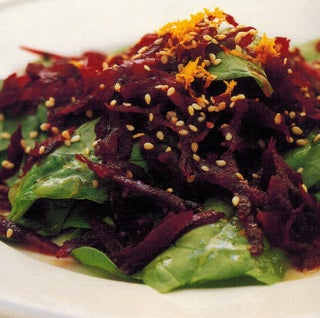 Beetroot, spinach and sesame salad