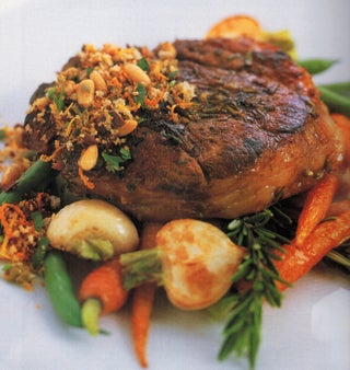 Italian lamb steaks with agridolce topping