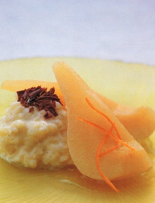 Homemade rice pudding with wine-poached pears