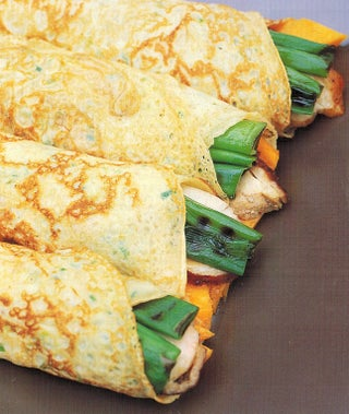 Spring onion pancakes filled with teriyaki chicken