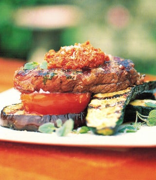 Chargrilled sirloin steak with harissa