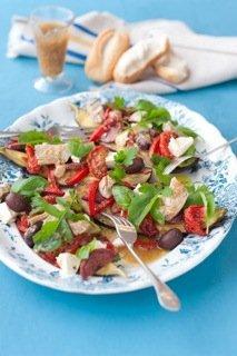 Antipasto salad with roasted garlic dressing