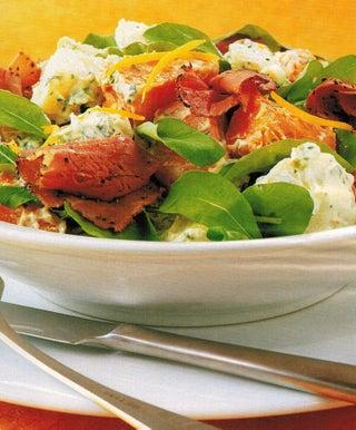Warm Potato Kumara and Pastrami Salad