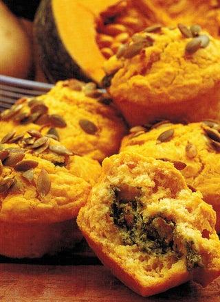 Pumpkin And Pesto Stuffed Muffins