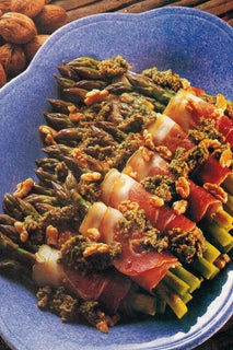 Asparagus With Parma Ham And Parsley And Walnut Salsa