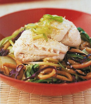 Gurnard With Udon Noodles And Asian Greens