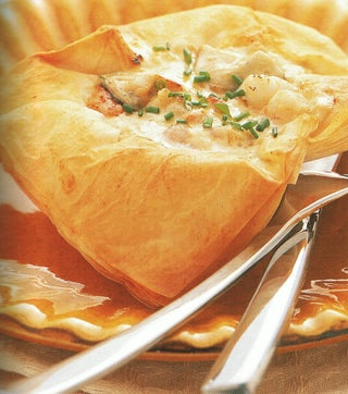 Seafood Mornay in a Filo Shell