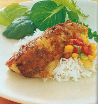Spice Coated Gurnard with Tomato and Mango Salsa