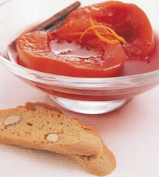 Peaches Poached In Mulled Red Wine