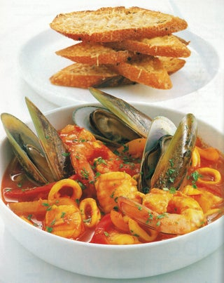 Pacific seafood soup with Parmesan toasts