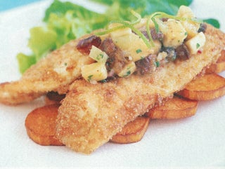 Almond Crusted Fish With Sweet Sour Banana Salsa