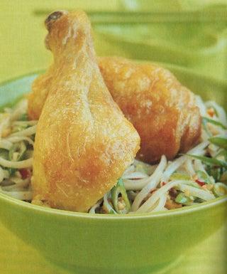 Lemon grass chicken on noodle salad