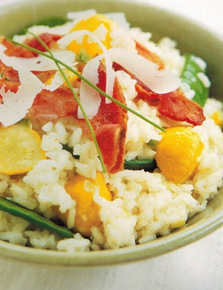Snowpea And Scallopini  Risotto With Bacon