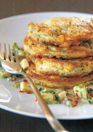 Crab And Corn Fritters With Avocado Salsa