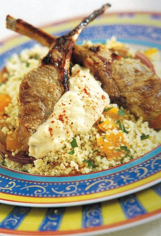 Greek style marinated lamb on spiced couscous