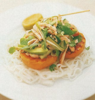 Smoked Chicken And Cucumber Salad On Rice Noodles