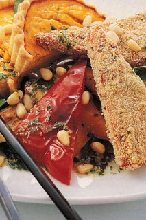 Polenta And Herb Crusted Tempeh With A Pumpkin And Pinenut Tart