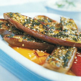 Spicy Grilled Aubergines With Creamy Tahini Dressing