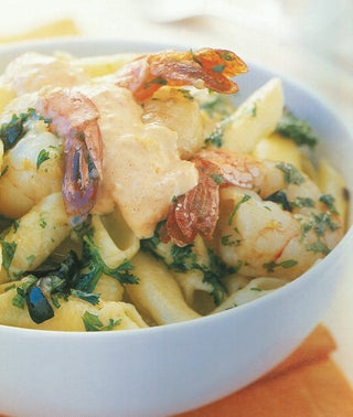 Pasta With Cheats Rouille And Garlic Prawns