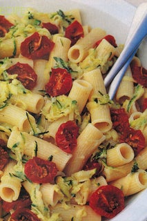 Rigatoni Or Penne With Courgettes And Oven Baked Cherry Tomatoes