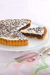Chocolate fudge and hazelnut tart